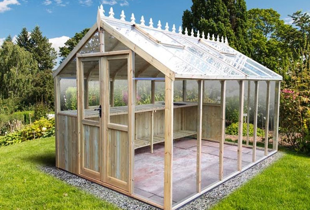 greenhouse potting shed with extra light