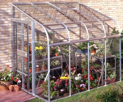 Halls 6x8 Silverline Curved Lean To